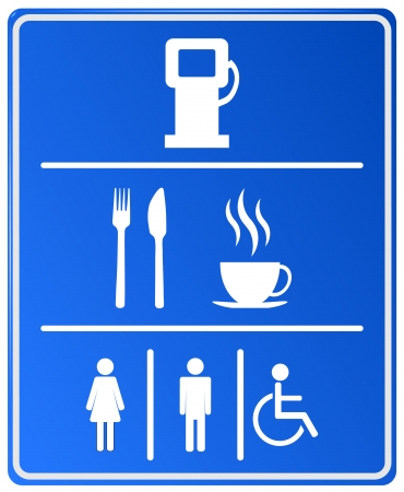 refuel: Blue Petrol Station Icon with gas station, food, coffee cup and wc
