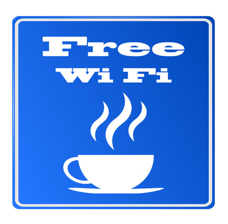 boardcast: Free wifi available here with coffee sign, vector eps 10, no mesh