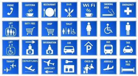 servicios publicos: Iconos Aeropuerto conjunto azul ilustración vectorial