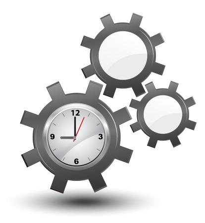 Business-Zeitmanagement, Uhr mit Zahnrädern, Vektor,