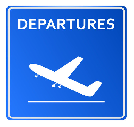 depart: Blue Airport Icon, Departures..Vector illustration