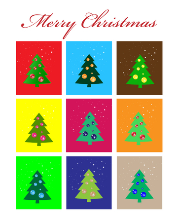 Christmas Greeting Card  Merry Christmas and trees Vector