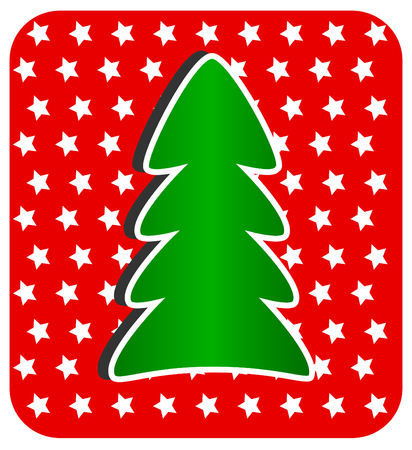 Modern Christmas Tree on red background, Vector