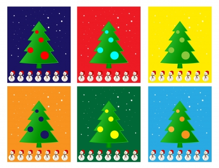 Christmas Greeting Card. Merry Christmas and trees , vector Vector