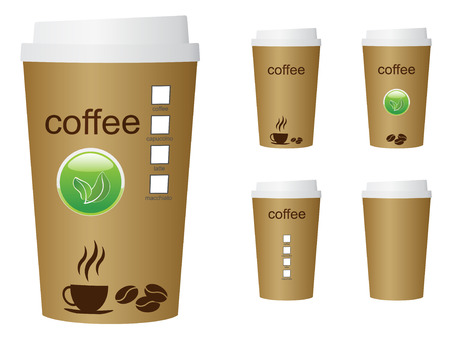 A green coffee cup vector illustration with the words coffee and eco sign