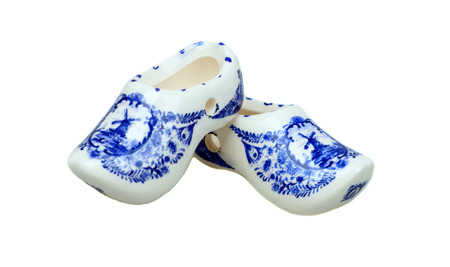 clog: pair of traditional netherlands shoes on white background