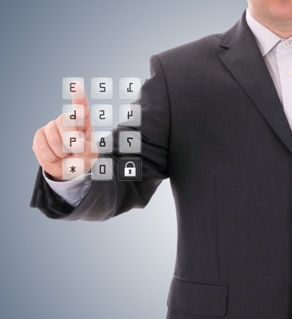Man pressing the security code