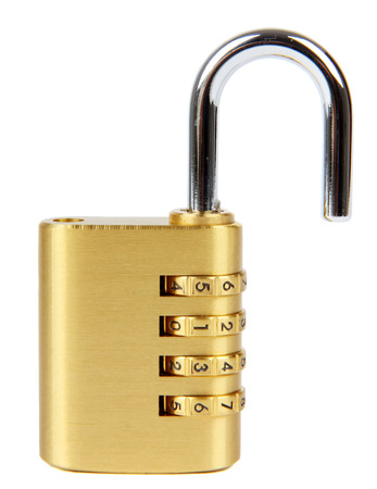 padlock with combination lock,in unlocked  position,Isolated on white background.
