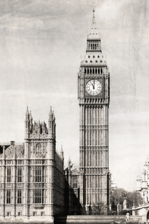Big Ben, black and white, vintage photo. photo