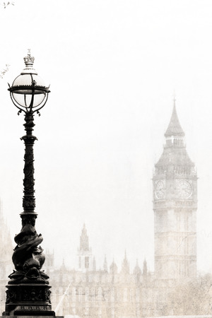 lampposts: Big Ben, black and white, vintage photo.
