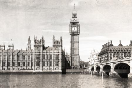 Old London , black and white, vintage photo. photo