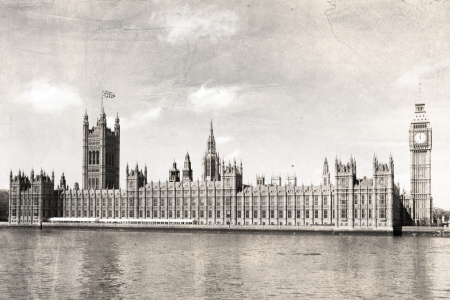 London Parliament house, black and white, vintage photo. photo