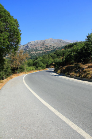 characteristic road landscape in Crete, Lassithi plateau photo