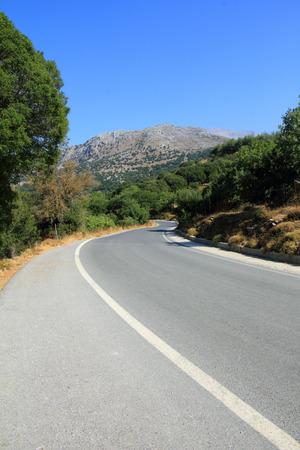 characteristic: characteristic road landscape in Crete, Lassithi plateau Stock Photo