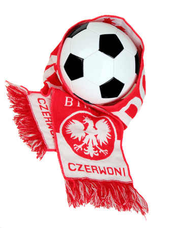 Football Polish symbols: fans scarf  with the words red) and white and football photo
