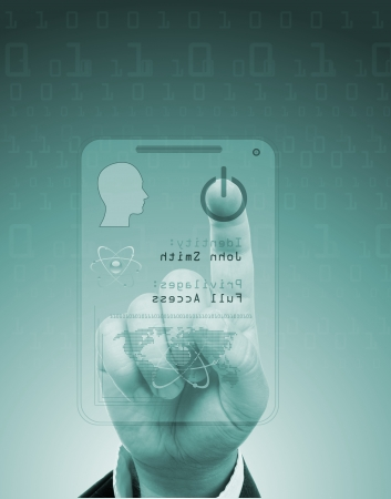 privileged: access for security or identification.Hand with digital scanner.