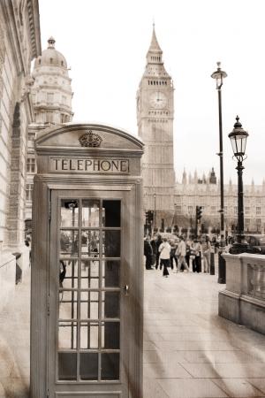 phonebooth: Vintage view of London, Big Ben &  phone booth