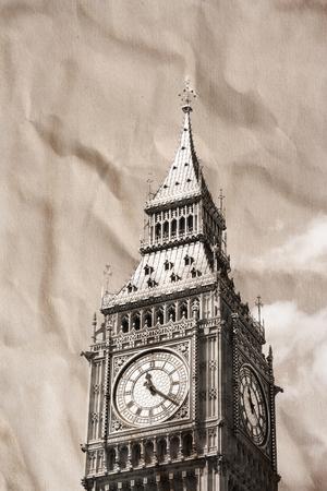 london big ben: Урожай вид Лондоне, Биг Бен Фото со стока