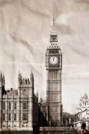 Vintage view of London, Big Ben photo