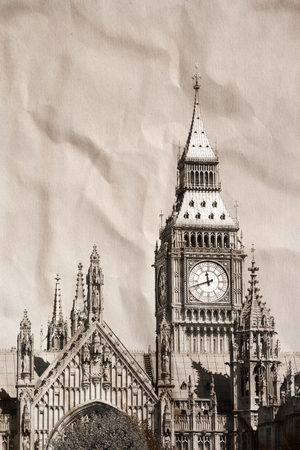 Vintage view of London, Big Ben Stock Photo - 24520013
