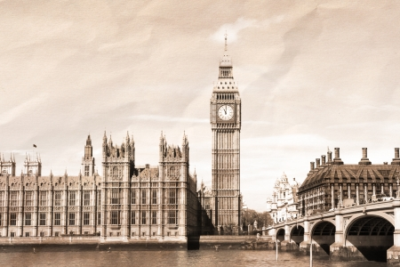 london big ben: Урожай вид Лондоне, Биг Бен и Парламент