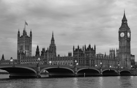 city of westminster: Westminster Bridge with Big Ben in London, black and white version.