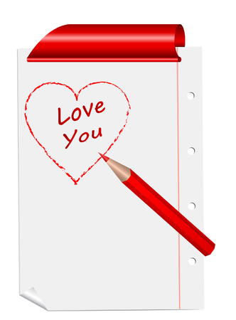 sheet with drawn red heart and the profession   love you  with curled corner and red clips Vector