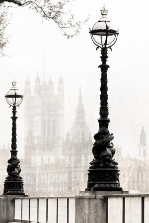 melancholic: melancholic view of London, black and white old  photo