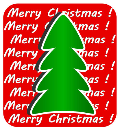 Modern Christmas Tree on red background Vector