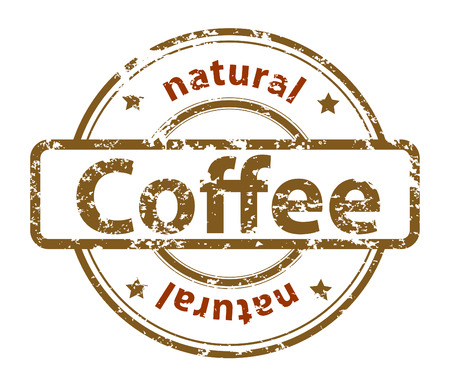 coffee bag:  grunge rubber stamp with text natural coffee