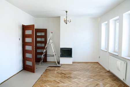 refinish: Painting of an empty room. Renovation house Stock Photo