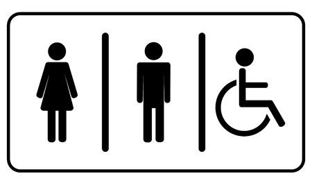Man, vrouw en ongeldige een, toilet wc symbool Stock Illustratie