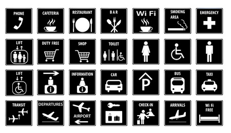 Airport Icons Set.Vector illustration Vector