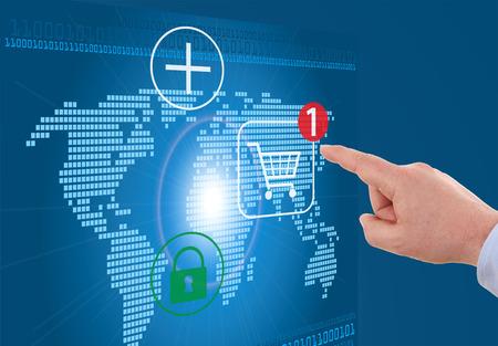 businessman pressing cart button on world map - modern online shopping