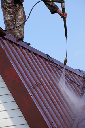 Professional roof washing. photo