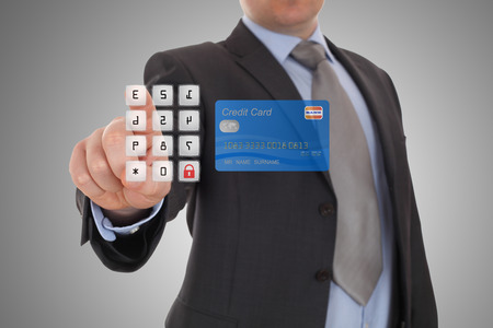 security code: hand click security code on online banking on touch screen