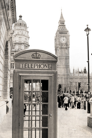 phone booth: Vintage view of London, A traditional phone booth in London  Stock Photo