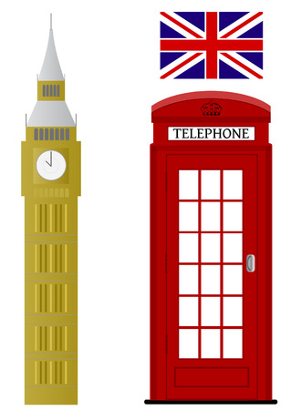 telephone booth: Set of London related vectors