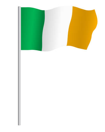 irish pride: Irish flag on pole, vector