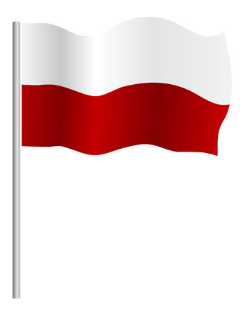 polish flag: Polish flag on pole, vector Illustration