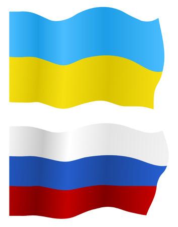 Ukraine and Russia flags, vector Vector