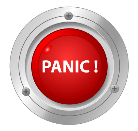 A panic red button on white background