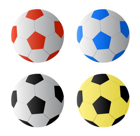 soccer balls: Four color football or soccer  balls, vector