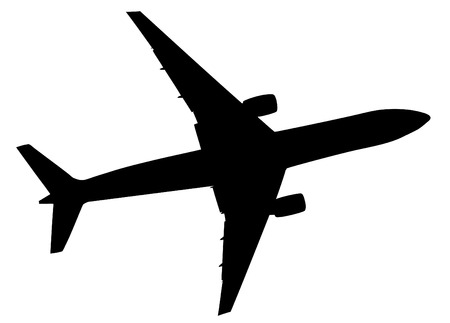 Black illustration of airplane silhouette , vector icon, eps 10.