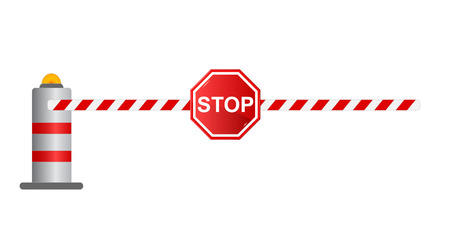 open gate: Stop road barrier, vector