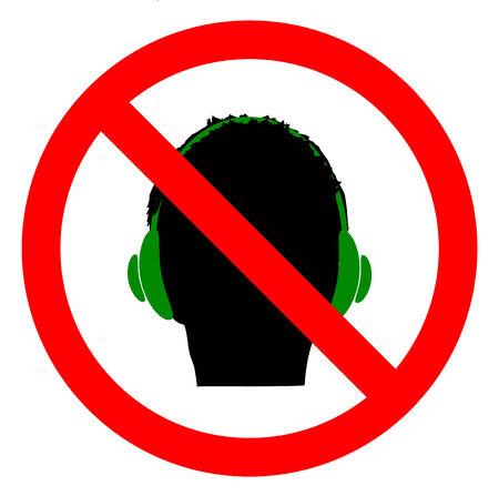 interdiction: Don `t utiliser un casque signe icône. signe d'interdiction. Vecteur, eps10