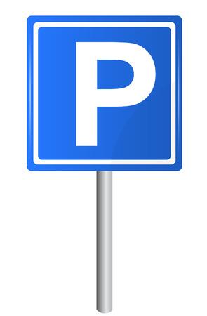 Parkeergelegenheid verkeersbord op pole, vector Stockfoto - 32357283
