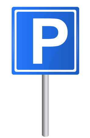 Parking traffic sign on pole, vector Vector