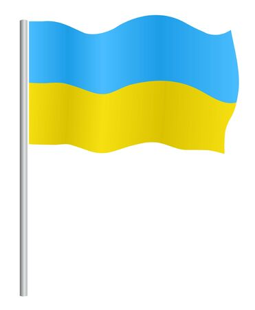 Flag of Ukraine with flagpole, on  white background Vector