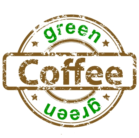 grunge rubber stamp with text green coffee Vector